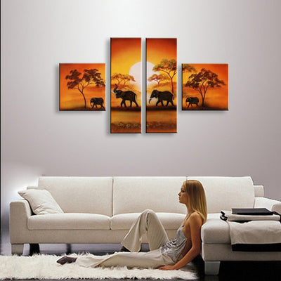 Natural Scenery: African Elephant - 4 Piece Canvas Painting
