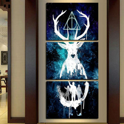 Abstract Deer Head - 3 Piece Paintinig