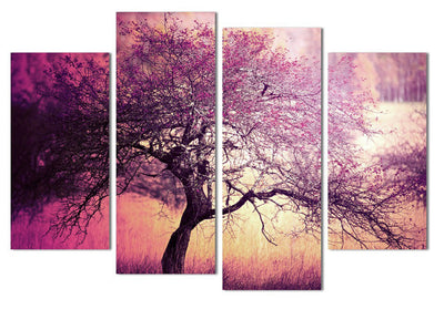 Beautiful Scenery: Purple Oak Tree - 4 Piece Canvas Painting