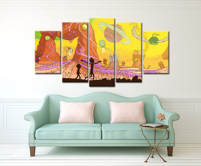 Adventurous world of Rick and Morty - 5 Piece Painting