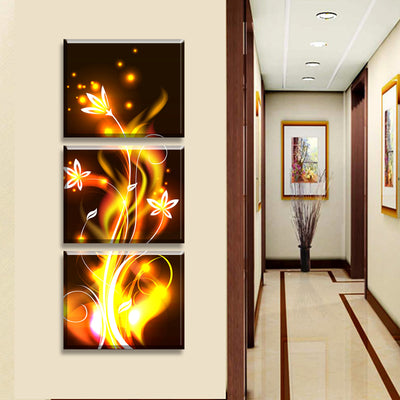 Fiery Golden Yellow Flower - 3 Piece Painting