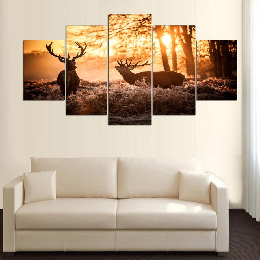 Elk - 5 Piece Canvas Painting