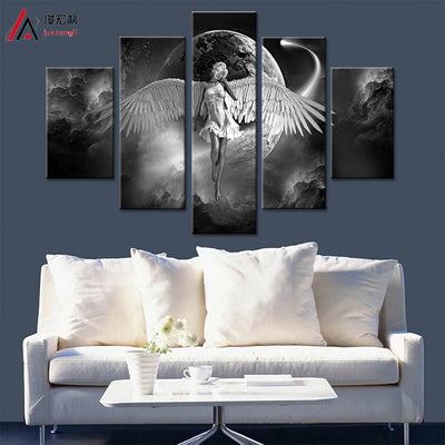 Black and White Angel Wings - 5 Piece Canvas Painting