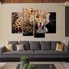 Elegant Yellow Spots Leopard- 4 Piece Canvas Painting