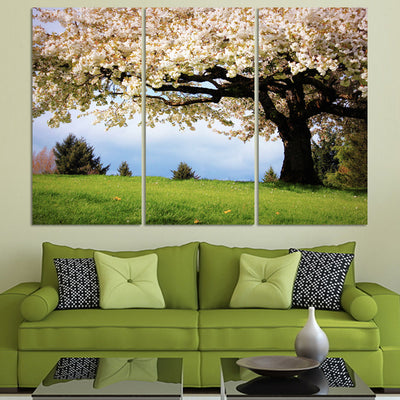 Big Tree with White Flowers in Green Scenery - 3 Piece Painting