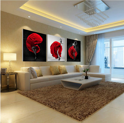 Beautiful Woman in Rose Dress - 3 Piece Painting