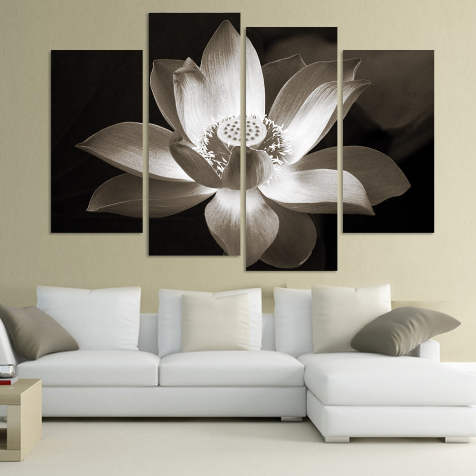 4 Piece Black And White Lutos Flower Canvas Painting Empire Prints