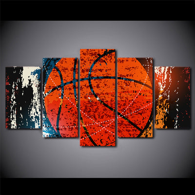 Basketball Mania - 5 Piece Canvas Painting