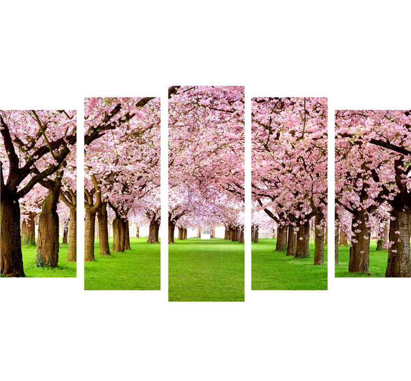 Cherry Blossom - 5 Piece Canvas Painting