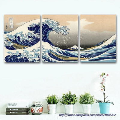 The Great Wave of Kanagawa Painting - 3 Piece Canvas-Canvas-TEEPEAT
