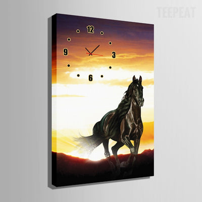 Horse Clock Canvas Painting-Canvas-TEEPEAT
