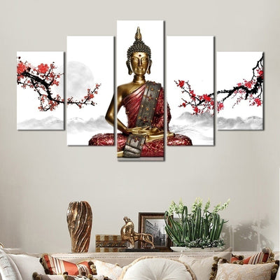 Buddha With Red Flowers - 5 Piece Painting