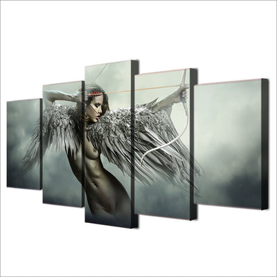 Fantasy Angel Warrior with Bow and Arrow - 5 Piece Painting