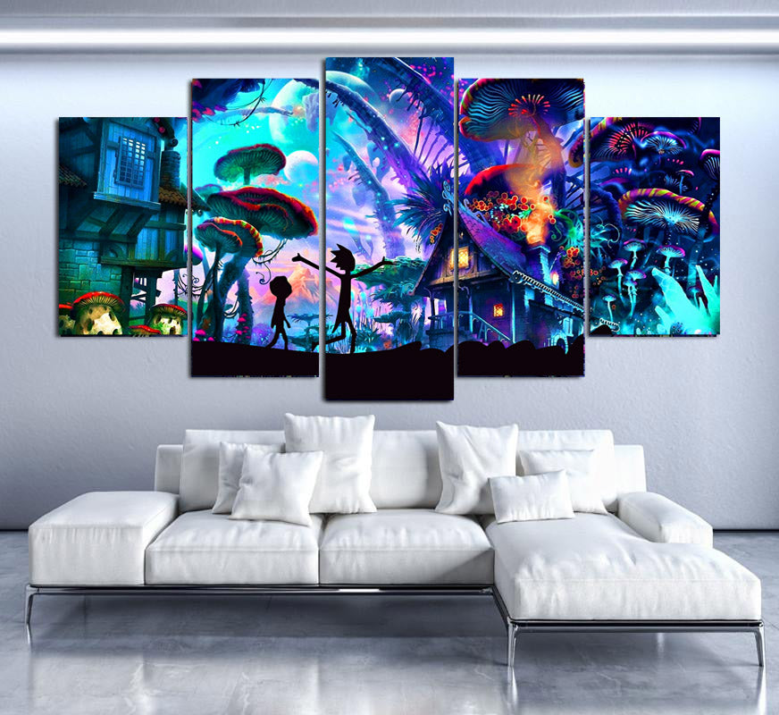 SHROOM WORLD RICK AND MORTY CANVAS SET