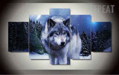 Wolf in Winter Painting - 5 Piece Canvas-Canvas-TEEPEAT