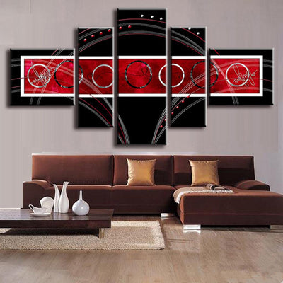 Red and Black Circles - 5 Piece Canvas Painting-Canvas-TEEPEAT