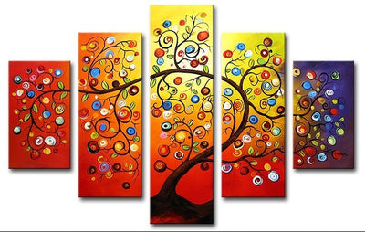 Abstract Colorful Tree - 5 Piece Painting