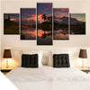 Beautiful Sunset Over The Snowy Mountain - 5 Piece Painting