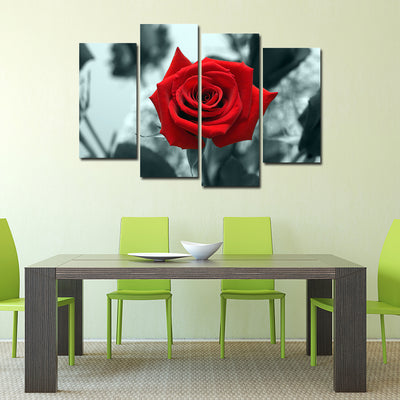 Beautiful Red Rose - 4 Piece Painting
