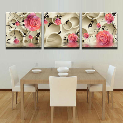 Modular Pink Roses Flower - 3 Piece Painting