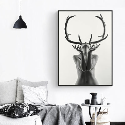 Nordic Antlers Woman Canvas Painting