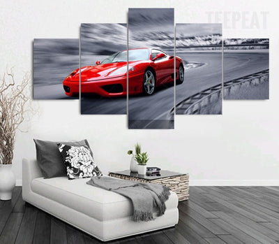 Stunning Red Sports Car - 5 Piece Canvas Painting-Canvas-TEEPEAT