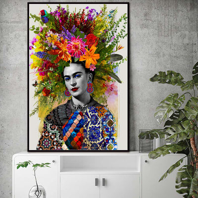 Frida Kahlo Flower Canvas Painting