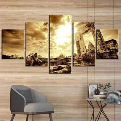 Ancient Stone Building - 5 Piece Canvas Painting