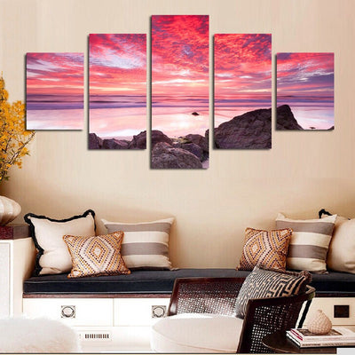 Sunrise By The Sea Painting - 5 Piece Canvas-Canvas-TEEPEAT