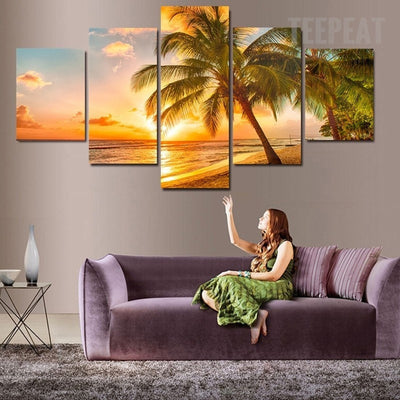 Stunning Sunset Seaside Landscape View - 5 Piece Canvas Painting-Canvas-TEEPEAT