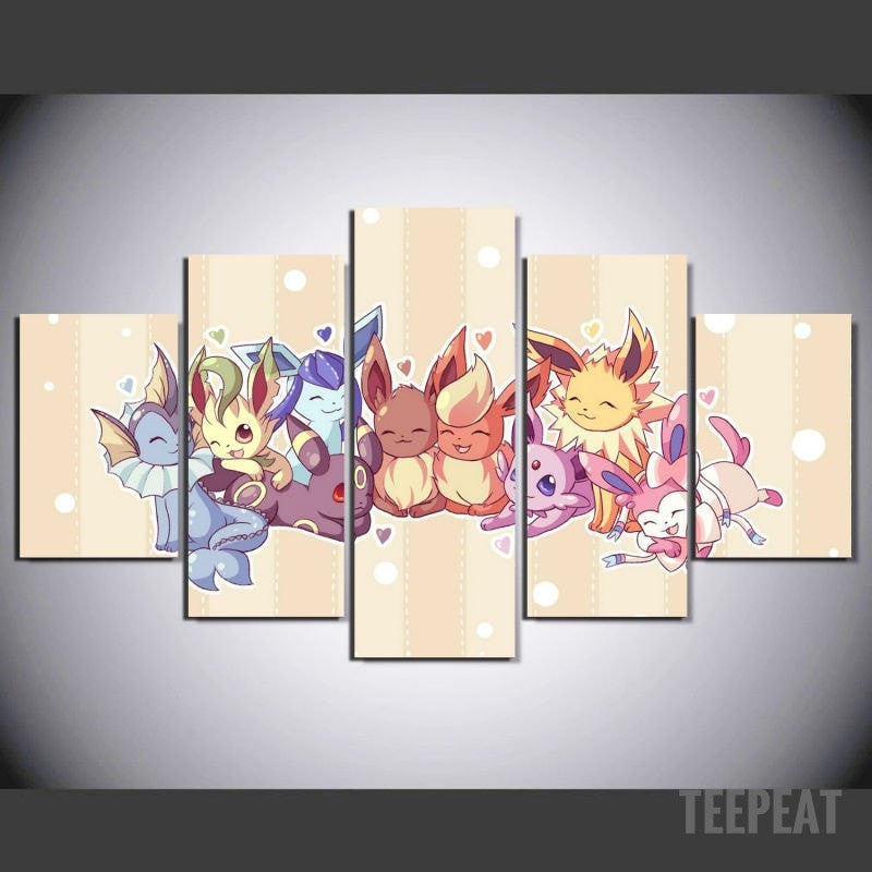 Pokemon Friends - 5 Piece Canvas Painting-Canvas-TEEPEAT
