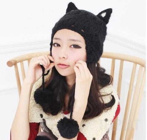 Women's Holiday Cat Hat with Pompoms-TEEPEAT
