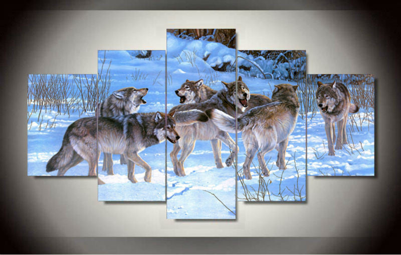 Wolves Roar In The Snow Painting - 5 Piece Wall Canvas