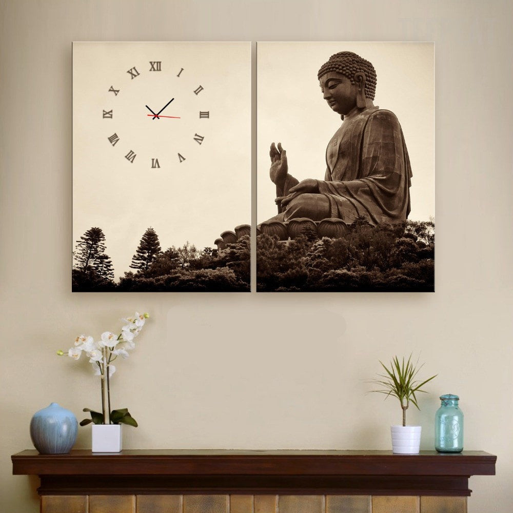 Canvas Wall Clock Design : Buddha carved from stone piece canvas painting