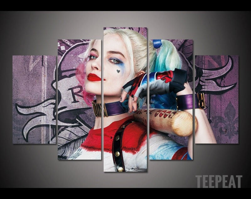 Harley Quinn Full Color - 5 Piece Canvas Painting-Canvas-TEEPEAT