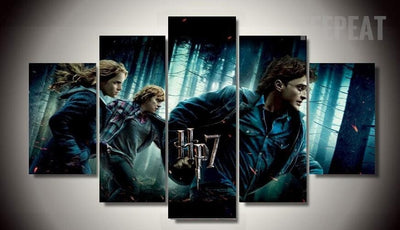 Harry Potter and the Deathly Hallows - 5 Piece Canvas-Canvas-TEEPEAT