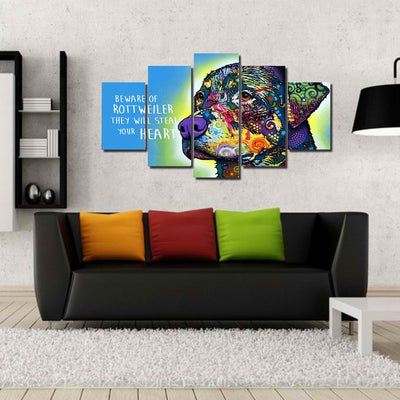 Rottweiler V2 Painting - 5 Piece Canvas-Canvas-TEEPEAT