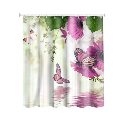 TEEPEAT Butterfly And Flowers Design Shower Curtain