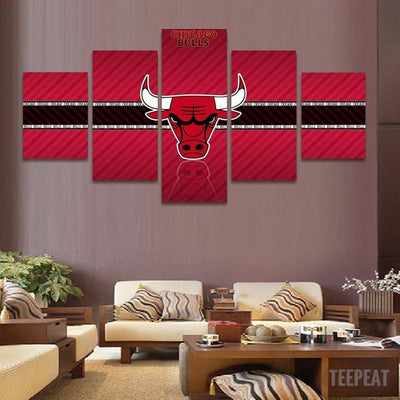 TEEPEAT Canvas 2017 Chicago Bulls Banner - 5 Piece Canvas Painting