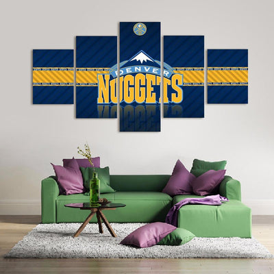 TEEPEAT Canvas 2017 Denver Nuggets Banner - 5 Piece Canvas Painting