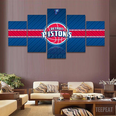 TEEPEAT Canvas 2017 Detroit Pistons Banner - 5 Piece Canvas Painting