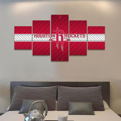 TEEPEAT Canvas 2017 Houston Rockets Banner - 5 Piece Canvas Painting