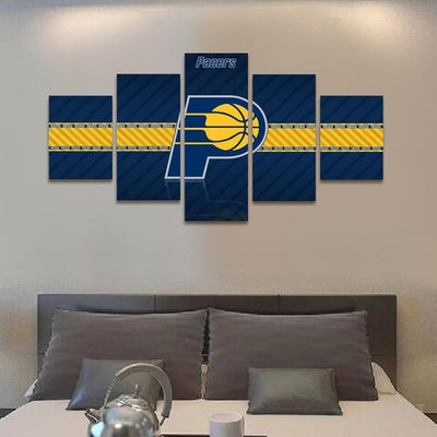 TEEPEAT Canvas 2017 Indiana Pacers Banner - 5 Piece Canvas Painting
