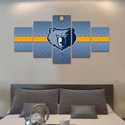 TEEPEAT Canvas 2017 Memphis Grizzlies Banner - 5 Piece Canvas Painting