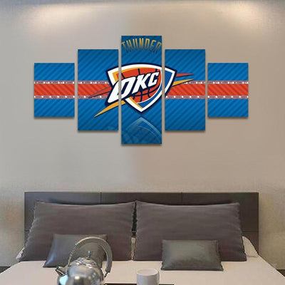 TEEPEAT Canvas 2017 Oklahoma City Thunder Banner - 5 Piece Canvas Painting