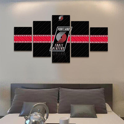 TEEPEAT Canvas 2017 Portland Trailblazers Banner - 5 Piece Canvas Painting