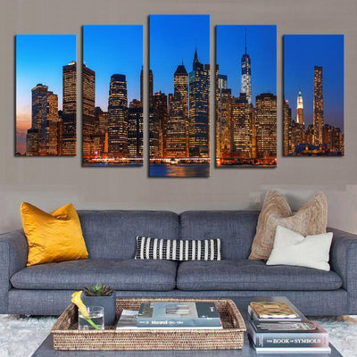 TEEPEAT Canvas A Night View At The City - 5 Piece Canvas Painting