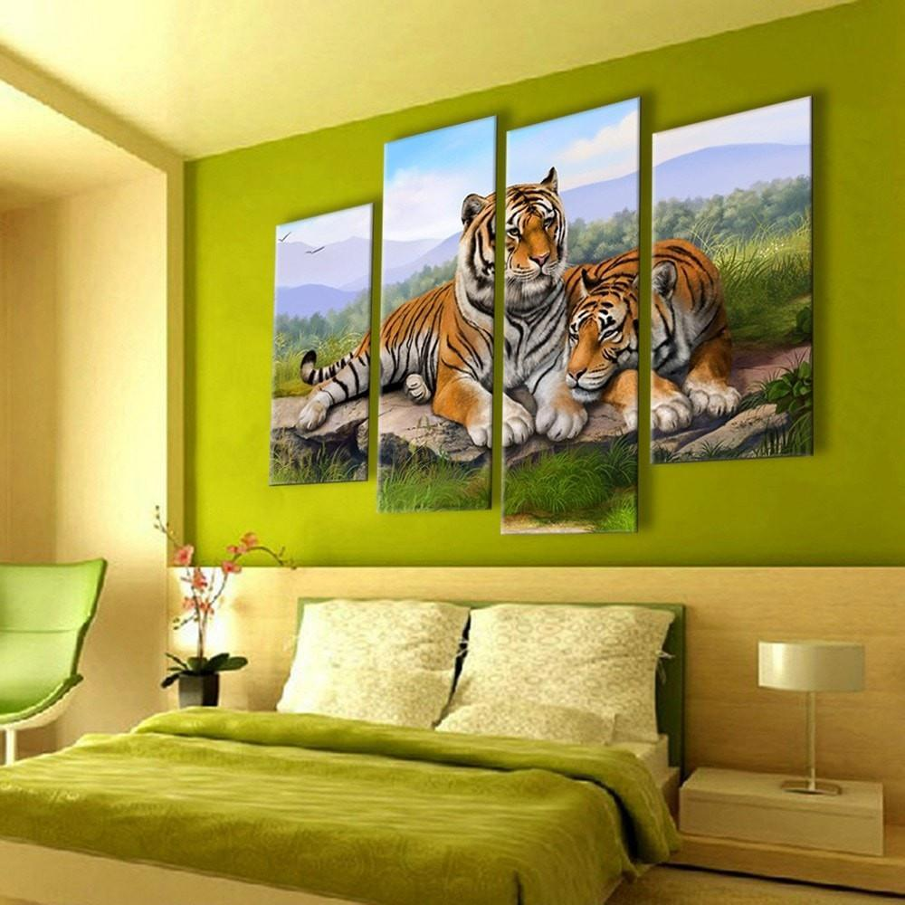 A Pair of Tigers Painting - 4 Piece Canvas - Empire Prints