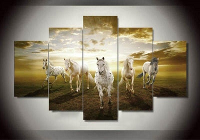 TEEPEAT Canvas A String of Horses Painting - 5 Piece Canvas