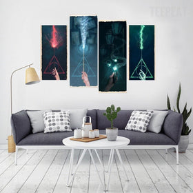TEEPEAT Canvas Medium / Unframed Abstract Colourful Sparks - 4 Piece Canvas